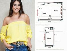 molde de blusa cigana com manga Casual Chic Outfits, Clothing Patterns, Sewing Patterns, Underwear Pattern, Macrame Dress, Diy Clothes, Clothes For Women, Sewing Blouses, Diy Tops
