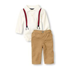 suspenders polo bodysuit & pants set