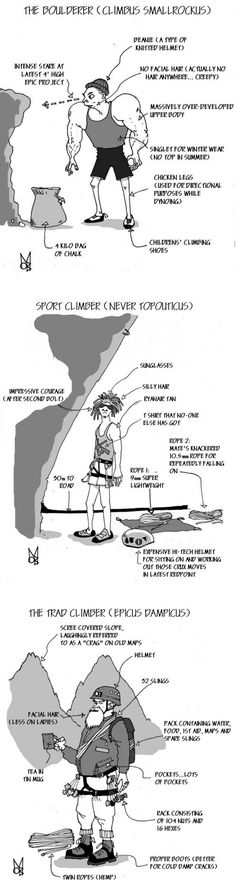 Scientific Description of a climber: love it, it's sooo spot on : ) - the sport climber is David to a tee!!