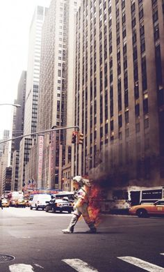 Spaceman on fire in NYC