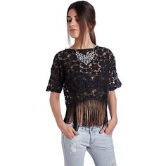 Black crop top in sheer lace with fringed hem.Crew neckline with short sleeves.The girl with the black lace crop top is obviously going to be stealing the show tonight!   Shop this product here: http://spreesy.com/cocoglam1/32   Shop all of our products at http://spreesy.com/cocoglam1      Pinterest selling powered by Spreesy.com