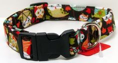 Owls on Chocolate Brown Printed Handmade Dog Collar by GoneDoggie
