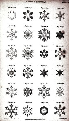 English explorer William Scoresby made these sketches during a winter voyage through the Arctic, which he recounted in his 1820 book An Account of the Arctic Region with a History and Description of the Northern Whale Fishery. Thy are the first drawings that accurately depicted many details of snow crystal structure, as well as several rare forms. Scoresby noted that the cold arctic climate produced more highly symmetrical crystals than in Britain.
