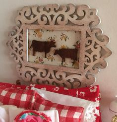 Farmhouse Filigree Framed picture of Bull and by RibbonwoodCottage