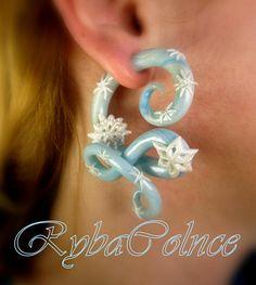 Earring The Snow Queen / Faux gauges/Gauge earrings/Tentacle