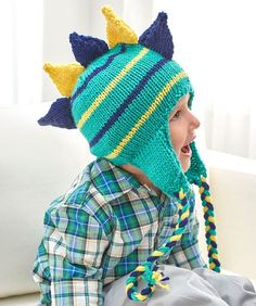 Dino Stripes Knit Hat