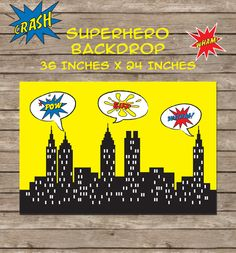 Free Superhero Theme Printable Party Backdrop