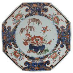 Par de pratos oitavados em porcelana Companhia das Índi..