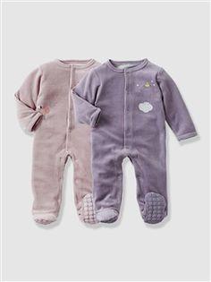 Lot de 2 pyjamas bébé velours nouveau né dès 45cm  - vertbaudet enfant