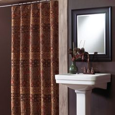 Croscill Yosemite Shower Curtain - Inspired by nature and combining deeply rich earth tones in dynamic patterns, this shower curtain matches design artistry with sublime comfort. #showercurtain #bathroom #homedecor #nature