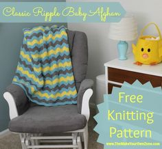 Homemade Baby Gift - Knitting Pattern for Classic Ripple Knit Baby Afghan