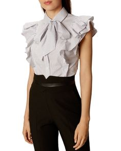 Discover brand-new clothing, shoes and accessories at Karen Millen. Patterned Work Dresses, Dresses For Work, Karen Millen, Classic White Shirt, Trendy Outfits, Ruffle Blouse, Shirts, Tops, Womens Fashion