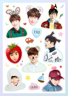 Exo Stickers, Tumblr Stickers, Printable Stickers, Cute Stickers, Kpop Exo, Suho Exo, K Pop, Bts Funny Videos, Exo Album