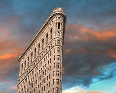 NYC sunset photograph - Flatiron Building New York City skyscraper wall decor bold dramatic colors
