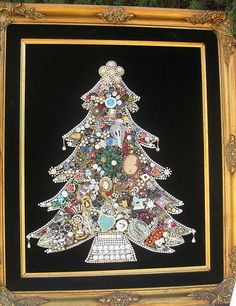 Jewel tree made from family costume jewellry.  Amazing!