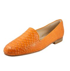 Orange Leather snake embossed smoking slipper | jon josef, shoes, handmade, made in spain, hecho a mano, hecho en españa, heels, flats, loafers, zapato plano, zapatilla, chancla, glamour, american brand, tacon, trendy, trend, inspiration, inspiracion, slippers, sandalia, bailarina, botas, botin, booties, boots, comodo, comfortable, cuero, leather, piel, pump, must have, elegance, velvet, slides, gatsby, patent, suede