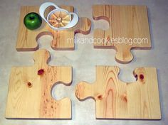 Hand carved puzzle cutting board.