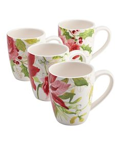 Look at this Holiday Floral Mug - Set of Four on #zulily today!