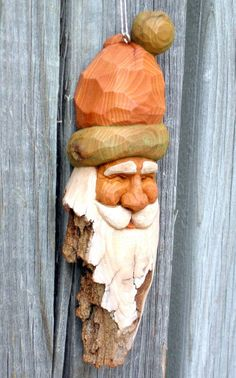 Santa Ornament Wood Carving Hand Carved by RedPineStudioMN on Etsy