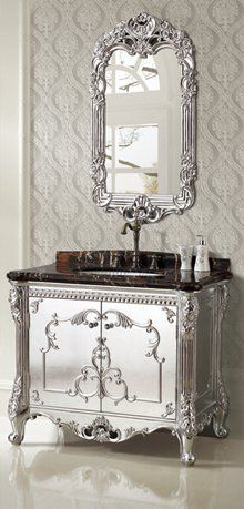 Who loves this Silver Foil Single Bathroom Vanity by Legion Furniture? The crystal glaze finish it absolutely stunning! Mirrored Furniture, Metal Furniture, Painted Furniture, Furniture Ideas, Furniture Nyc, Recycled Furniture, Cheap Furniture, Luxury Furniture, Beautiful Mirrors