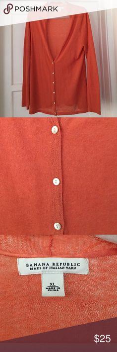 Banana Republic Orange button down sweater Orange v-neck button down lightweight sweater. Worn twice, no pilling. Banana Republic Sweaters Cardigans