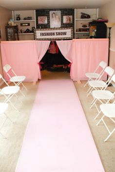 set up a fashion show using table cloths