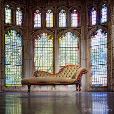 Stained glass windows and an elegant chaise longue. Leaded Glass, Stained Glass Art, Stained Glass Windows, Mosaic Glass, Stairs And Doors, Windows And Doors, Through The Window, Through The Looking Glass, Architecture Details