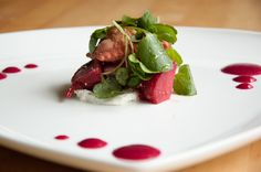 Fried Beet Ravioli, Chioggia Beet Vinaigrette, Surfing Goat Dairy Goat Cheese, Organic Beets, and Hona Watercress.