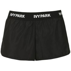 Logo Waistband Runner Shorts by Ivy Park ($29) ❤ liked on Polyvore featuring activewear, activewear shorts, black, topshop and logo sportswear