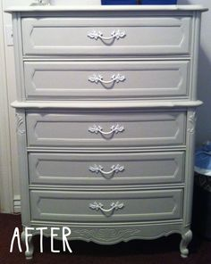 Refinished dresser tutorial. Priming, sanding, painting, refinishing old rusty handles with new paint. Grey dresser with gloss white handles. On livingincolormom.com