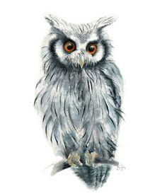 Owl Watercolor Painting - Giclee Print - Home Wall Decor - Bird Watercolor Illustration. Owl Watercolor, Watercolor Animals, Watercolor Illustration, Watercolor Paintings, Owl Paintings, Watercolour Tips, Vogel Illustration, Owl Artwork, Bird Art