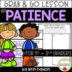 A classroom guidance lesson on the importance of having and developing Patience Elementary Counseling, Counseling Activities, School Counselor, Therapist School, Guidance Lessons, Study Skills, Character Education, Communication Skills, Teaching Kids