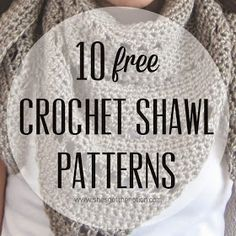 10 free crochet shawl patterns that are perfect for springtime. Crochet Prayer Shawls, Crochet Shawls And Wraps, Crochet Scarves, Crochet Clothes, Crochet Shrugs, Crochet Shawl Free, Prayer Shawl Crochet Pattern, Crochet Vests, Crochet Cape