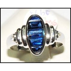Blue Sapphire Natural 18K White Gold Diamond Ring by BKGjewels