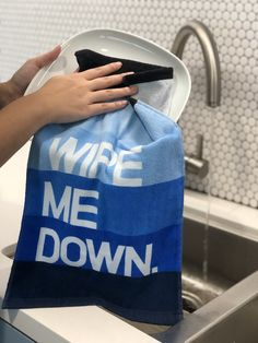 Knock Knock® Wipe Me Down. Can double as a gym towel if you like to sweat before you sip. Gym Towel, Hostess Gifts, Knock Knock, Towels, Laundry, Kitchen, Laundry Room, Cooking, Hand Towels