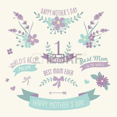 Mother's day set of floral design elements, wreaths and ribbons in pastel purple and green. #mothersday #floral #flowers #vector