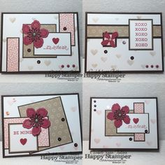 6x6 One Sheet Wonder - 4 cards from 1 sheet. Template, cutting guides, VIDEO. Stampin Up, Botanical Builders, Bloomin Love, Hearts and Stars Mask
