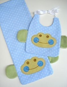 SALE - PDF ePattern for Monkey and Sheep Bibs with Ribbon Ties and Burp Pads via Etsy