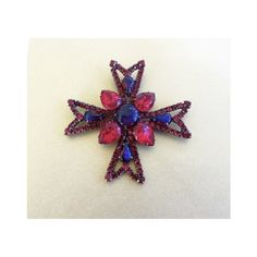 Rhinestone Maltese Cross Brooch Heraldic Pin Malta Cross Ruby Cobalt... ($63) ❤ liked on Polyvore featuring jewelry, brooches, maltese cross brooch, ruby brooch, rhinestone pins brooches, ruby jewellery and cross jewellery