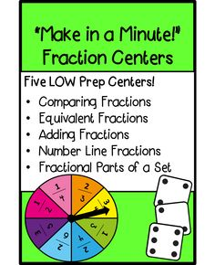 Five LOW PREP Fraction Centers to Make in a Minute! Skills include : Comparing Fractions, Equivalent Fractions, Adding Fractions, Number Line Fractions, Fractional Parts of a Set!