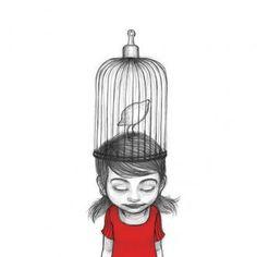 Noemi Villamuza Juan Palomino, Illustration Girl, Illustrations And Posters, Love Birds, 2 Colours, Beautiful Images, Illustrators, Street Art, Drawings