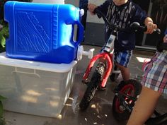 Bike wash station or just a way to give kids access to water without leaving the hose on all day! Camping water bucket with tap