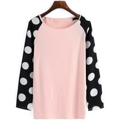 Long Sleeve Polka Dot T-shirt (128.735 IDR) ❤ liked on Polyvore featuring tops, t-shirts, multicolor, pink t shirt, longsleeve tee, colorful t shirts, pink top and longsleeve t shirts