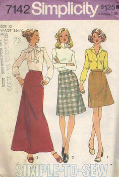 Retro 1970s Simplicity Sewing Pattern Maxi Mini Skirt  Straight Slim Fit Pencil Wiggle Skirt Waist 26