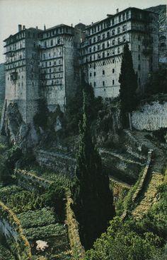 pnug:  Simonos Petra monastery on Mount Athos, Greece National Geographic| March 1980