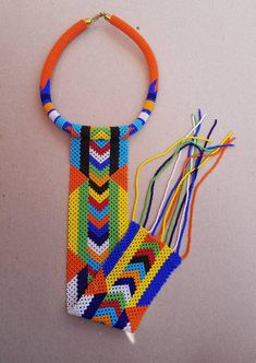 African zulu necklace African necklaces Long pendant   Etsy Diy African Jewelry, African Bracelets, African Accessories, African Necklace, African Beads, Fashion Accessories, Fabric Jewelry, Beaded Jewelry, Beaded Necklace