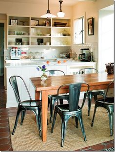 MORE open cabinets, skinny table and tolix chairs...you shall be mine soon!!