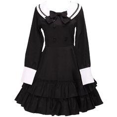 Partiss Women's Cotton Black Ruffles School Lolita Dress ($70) ❤ liked on Polyvore featuring dresses, ruffle dress, frilly dresses, flutter-sleeve dress, frill dress and cotton day dresses