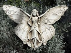 Carruth Studios Madame Butterfly Hand Cast Sculpture Natural Stone Finish