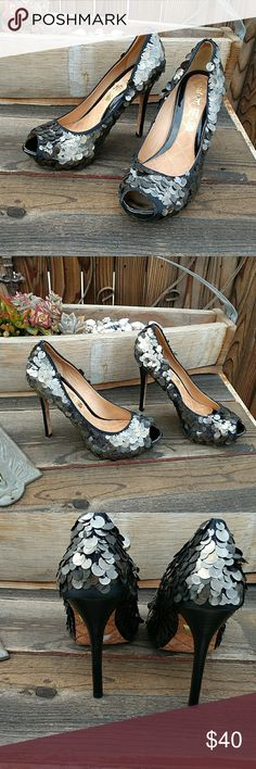 """LAMB peep toe pumps Brown colored peep to large sequined pumps. Only wore once for a fashion show on carpet, no box available. 4.5"""" heel. Please ask questions prior to purchase. LAMB Shoes Heels"""